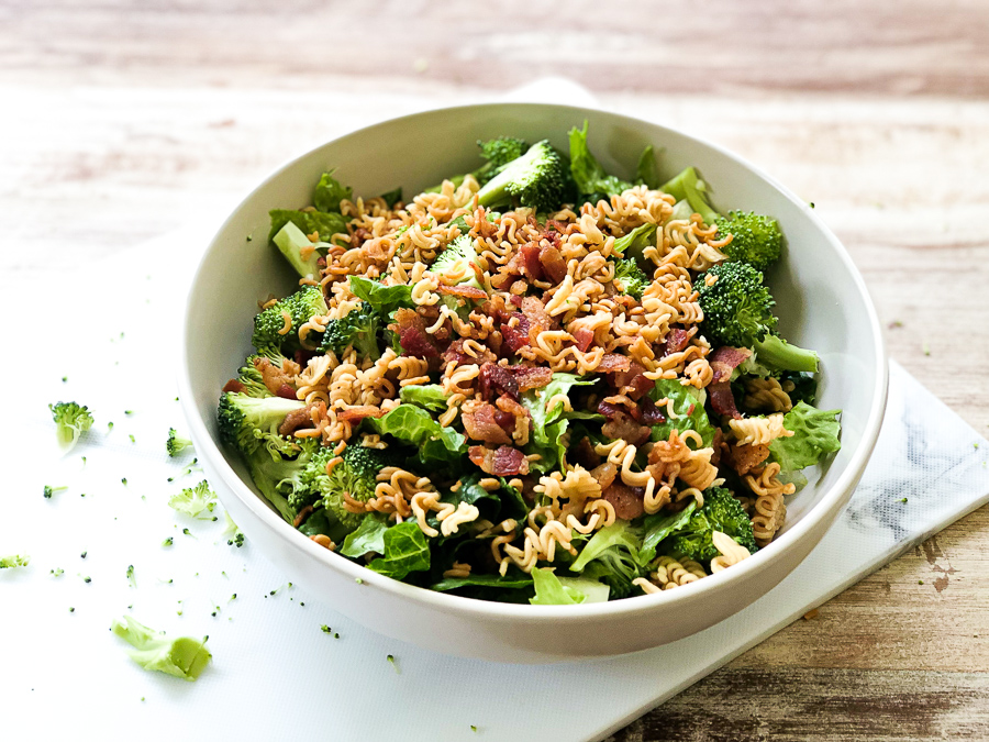 Finished product of Bacon Broccoli Salad with Ramen