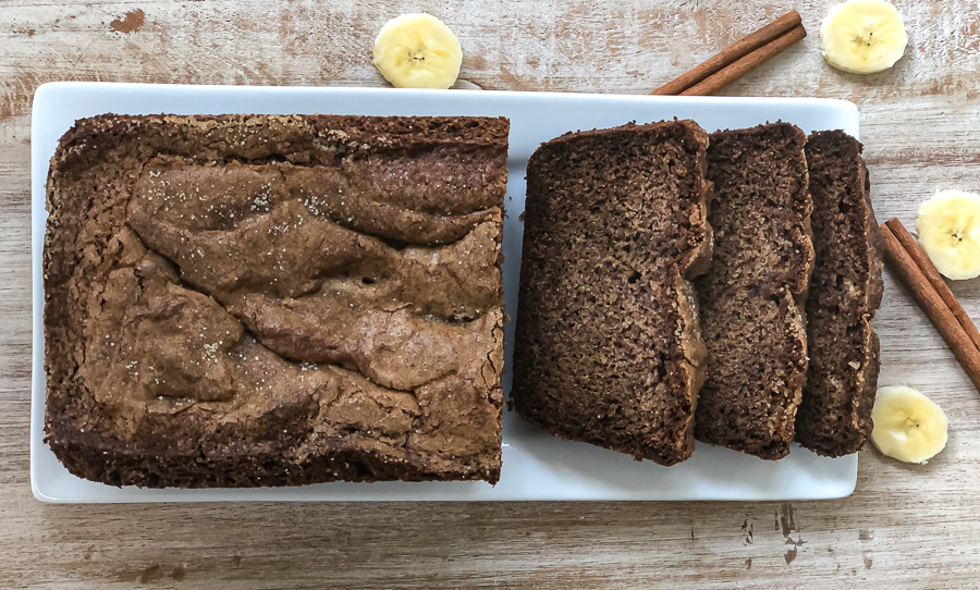 Cooked and sliced dairy free and gluten free banana bread