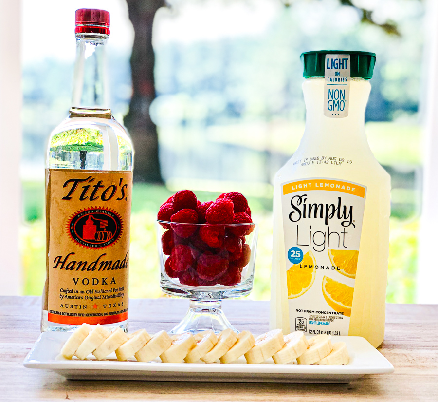 Ingredients for Raspberry Lemonade Vodka Slush