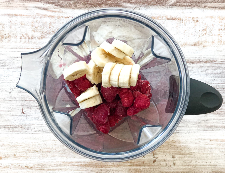 Raspberries and Bananas in a blender