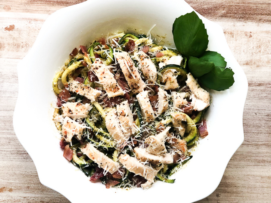 Keto Bacon Chicken Zucchini Noodles