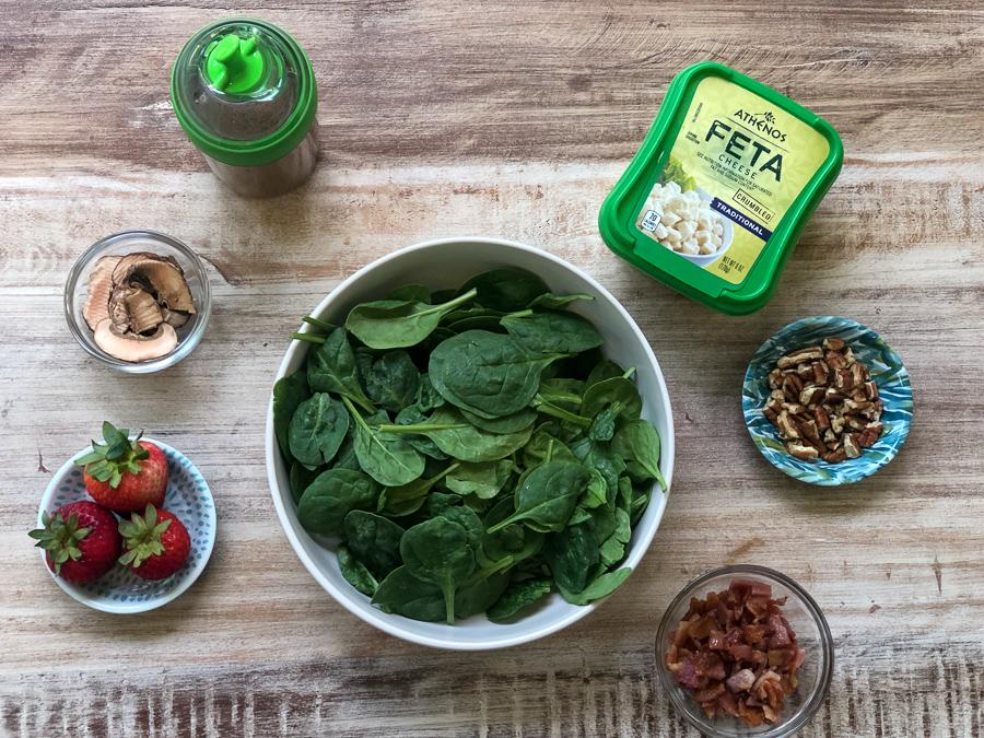 Spinach Walnut Feta Salad Ingredients