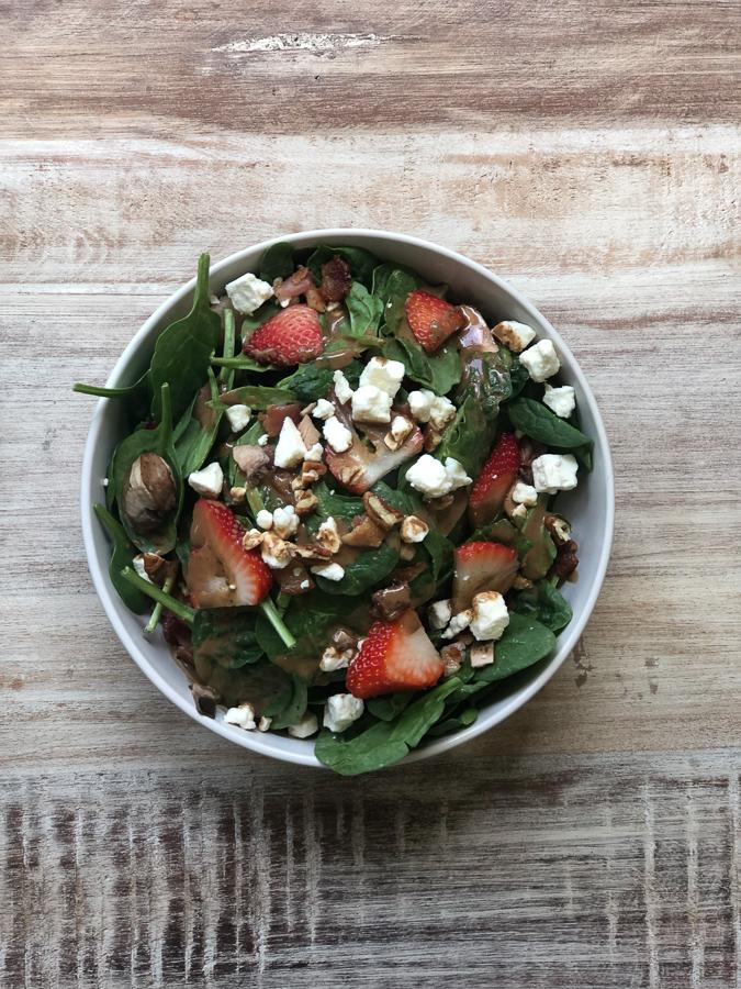 Spinach Walnut Feta Salad in bowl