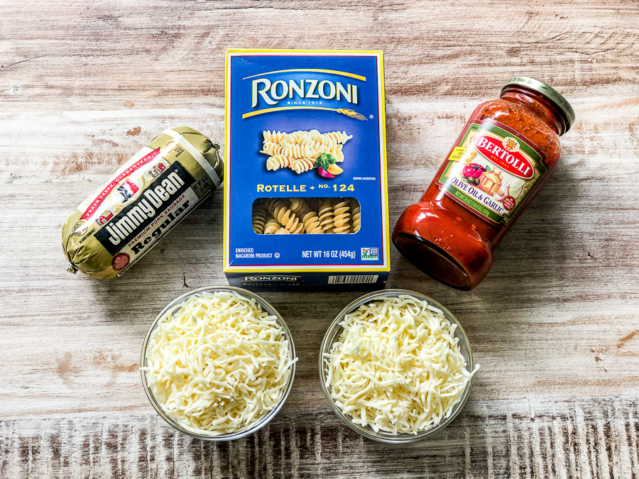 Ingredients for the simple sausage pasta bake