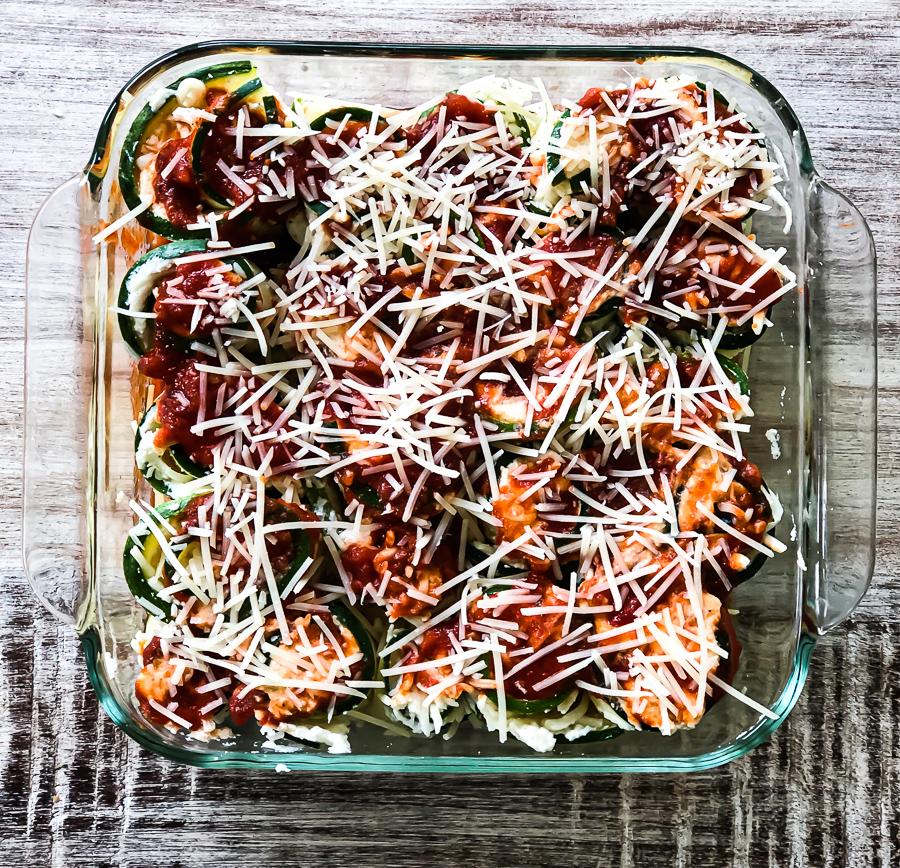 Simple Keto Zucchini Lasagna ready to go in the oven