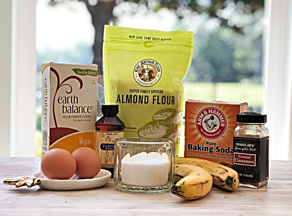 Ingredients for Dairy Free and Gluten Free Banana Bread