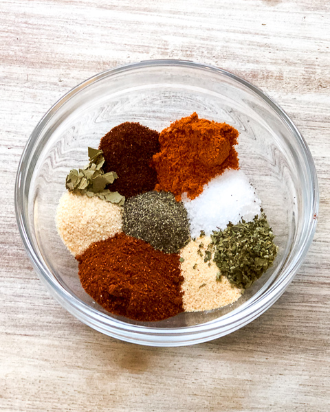 Bowl of unmixed spices