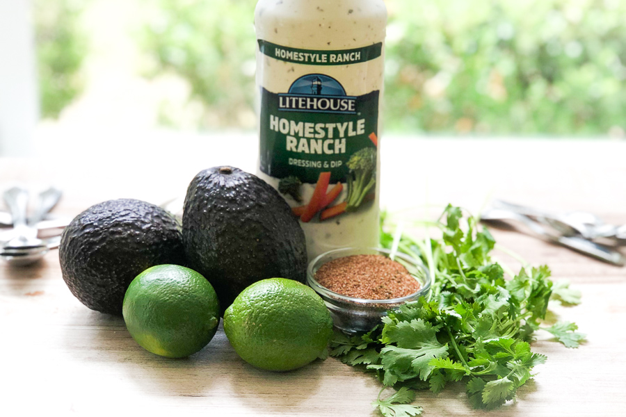 Ingredients for avocado ranch dip