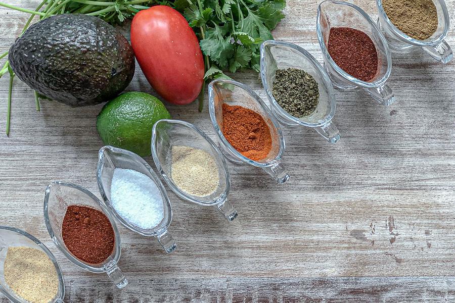 Ingredients for simple homemade taco seasoning