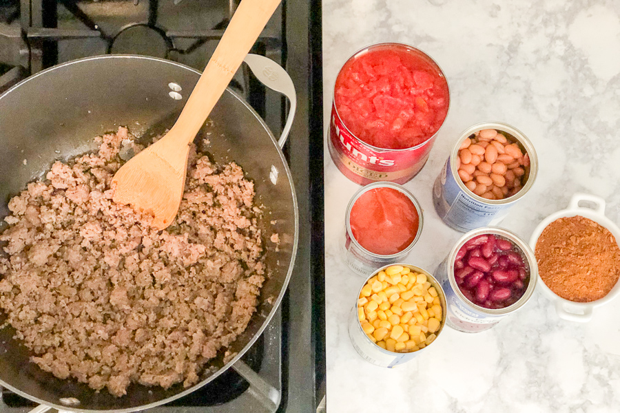 Browned sausage and ingredients in a can on the counter