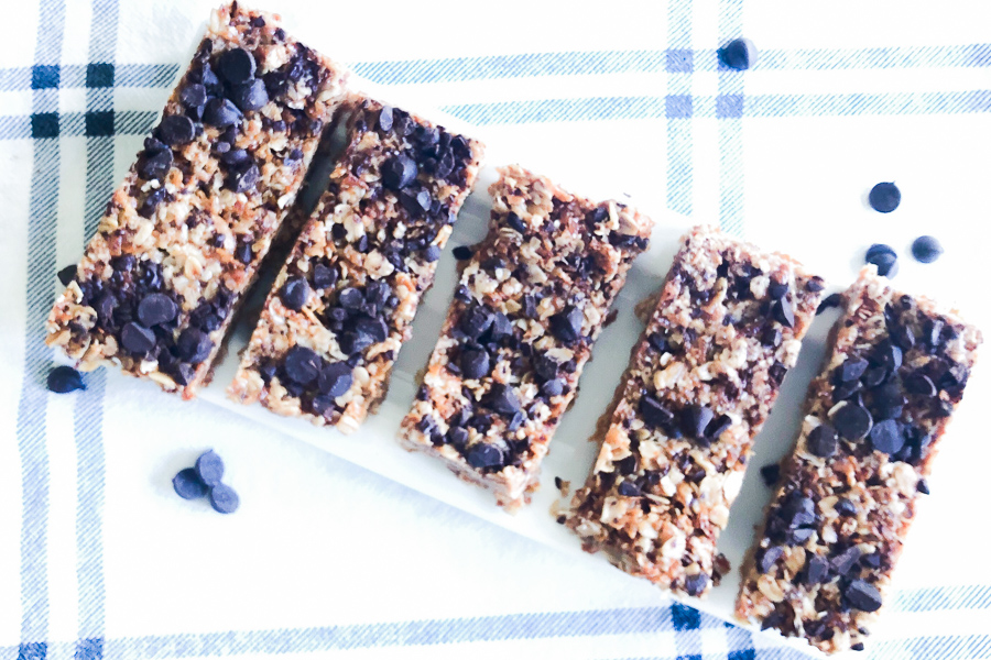 4 Ingredient Granola Bars on a plate