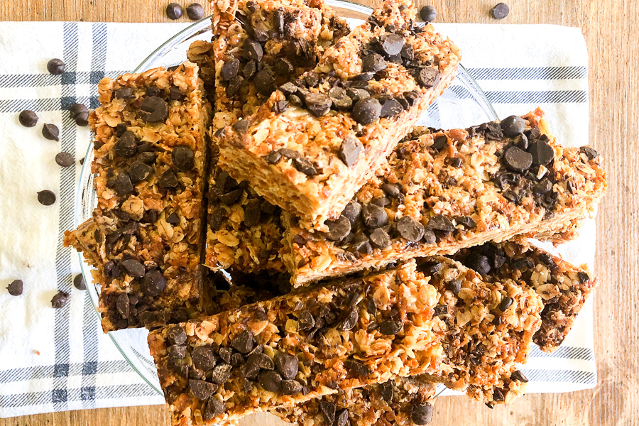 4 Ingredient Granola Bars piled on a dish