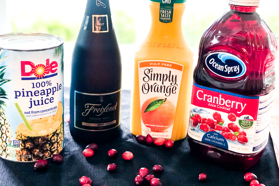 Ingredients for Sparkling Cranberry Orange Punch