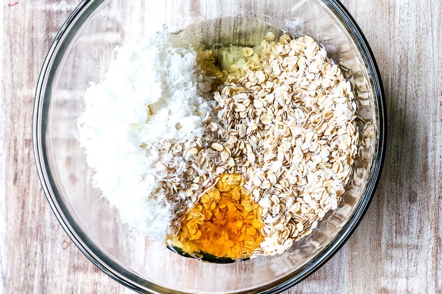 Ingredients in a bowl for Sweet and Simple Granola