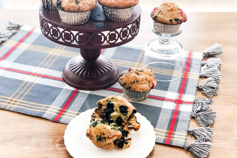 Very Berry Muffins on a stand and on various plates