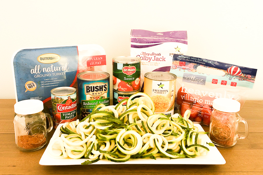 Ingredients for Mexican Zoodles
