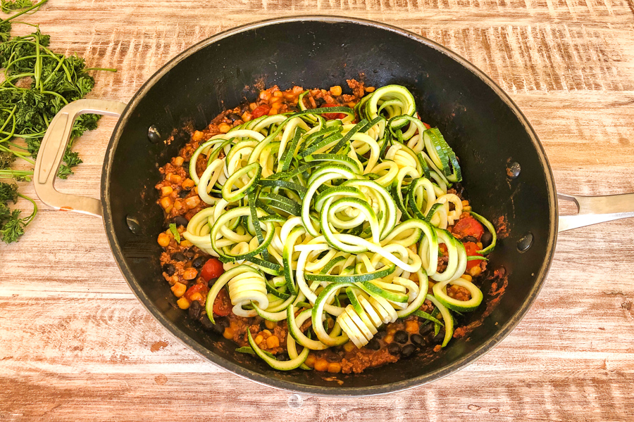 Zucchini added to pot for Mexican Zoodles