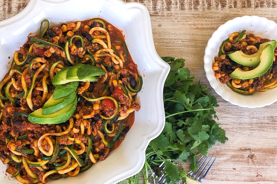 Mexican Zoodles with avocado
