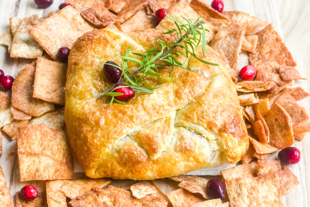 Baked Brie with Cranberry on a plate