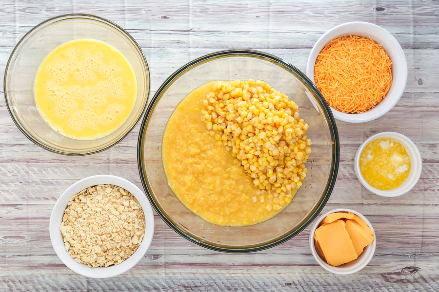 Ingredients for Cheesy Corn Casserole
