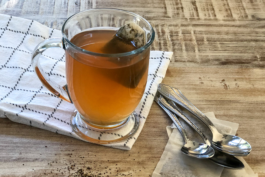 Copycat Starbucks Medicine Ball in a mug with teabag