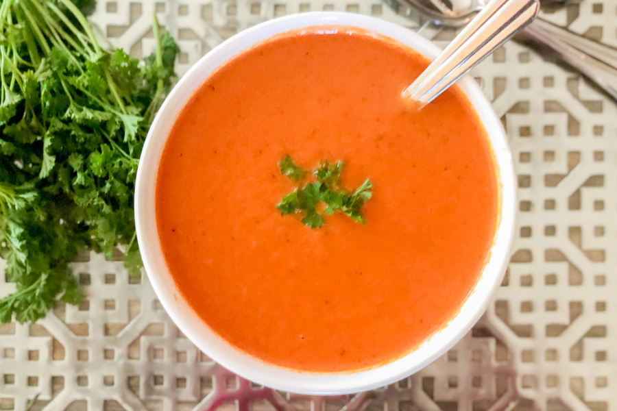 Fire Roasted Tomato soup in a bowl