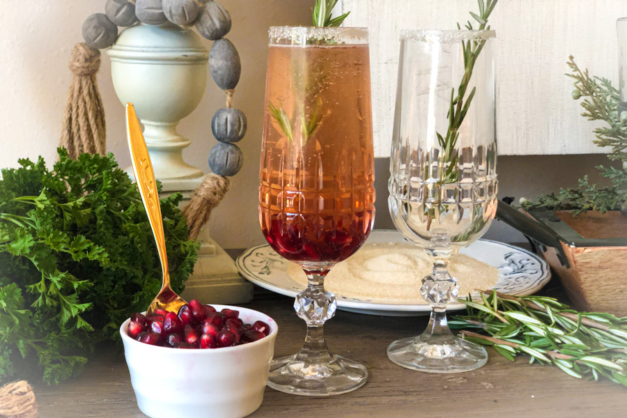 Pomegranate Mimosa on a table with holiday decorations