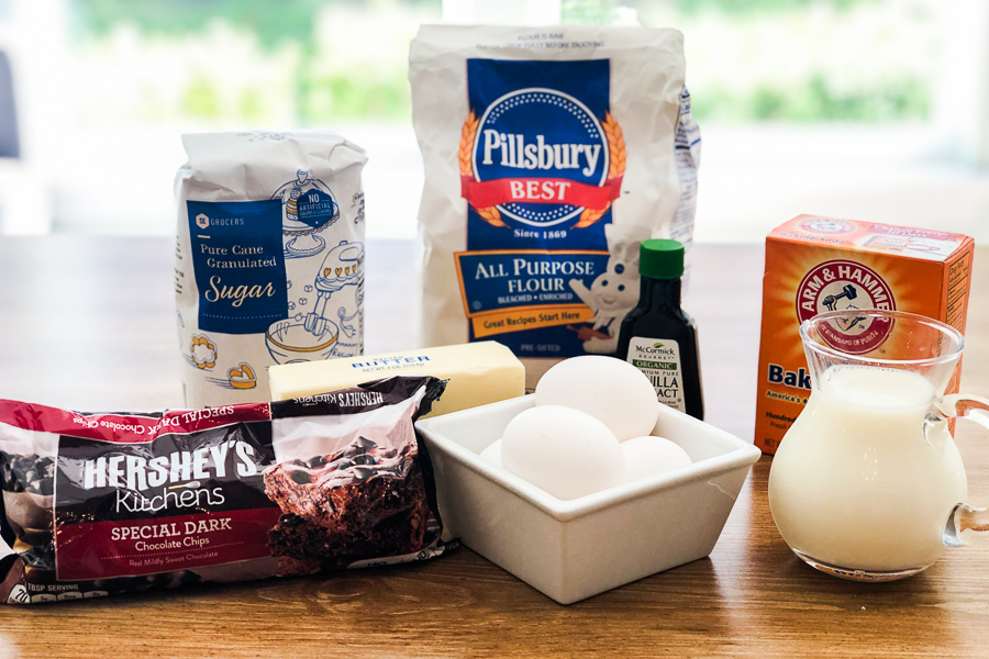 Ingredients for Simple Chocolate Chip Muffins