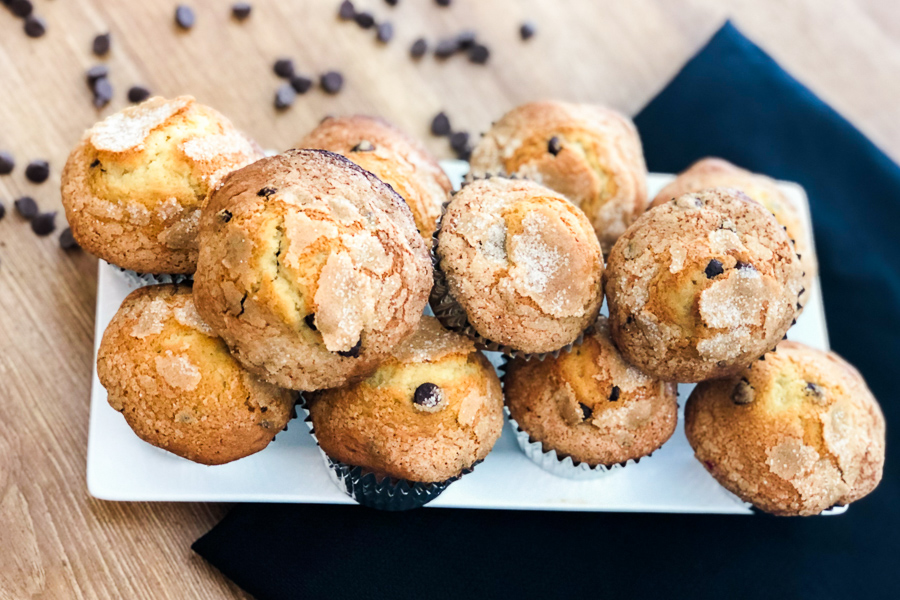 Simple Chocolate Chip Muffins on a platter