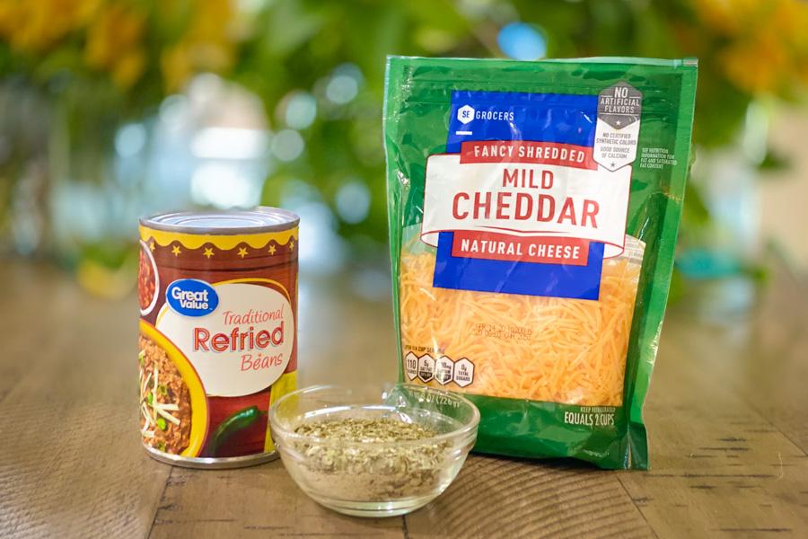 Ingredients for cheesy refried beans