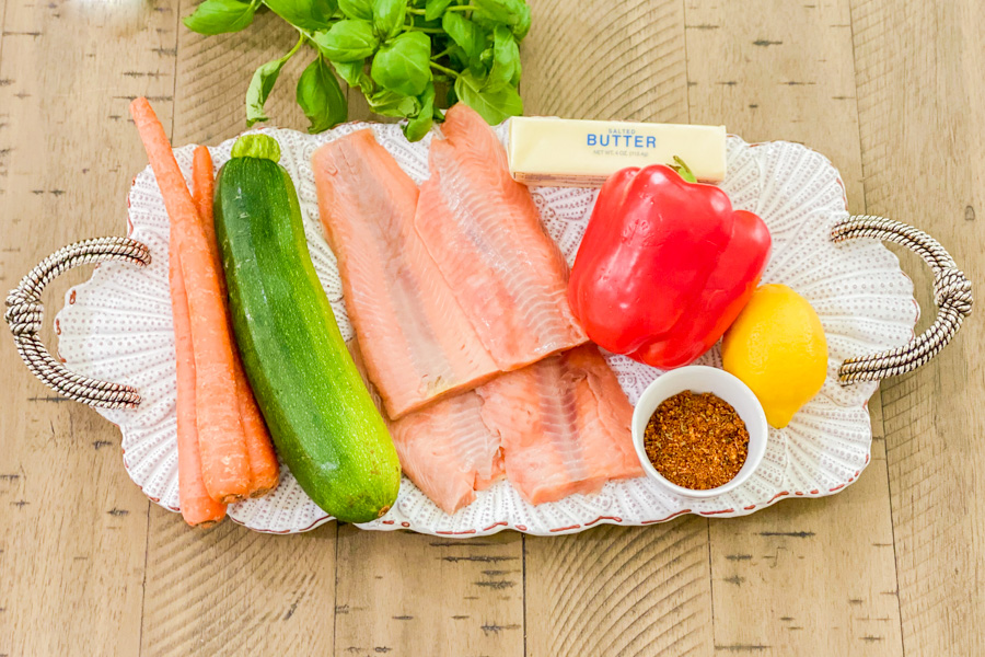 Ingredients for our Instant Pot Salmon and Vegetables