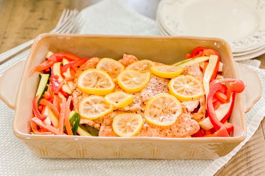 Cooked Instant Pot Salmon and Vegetables in a dish