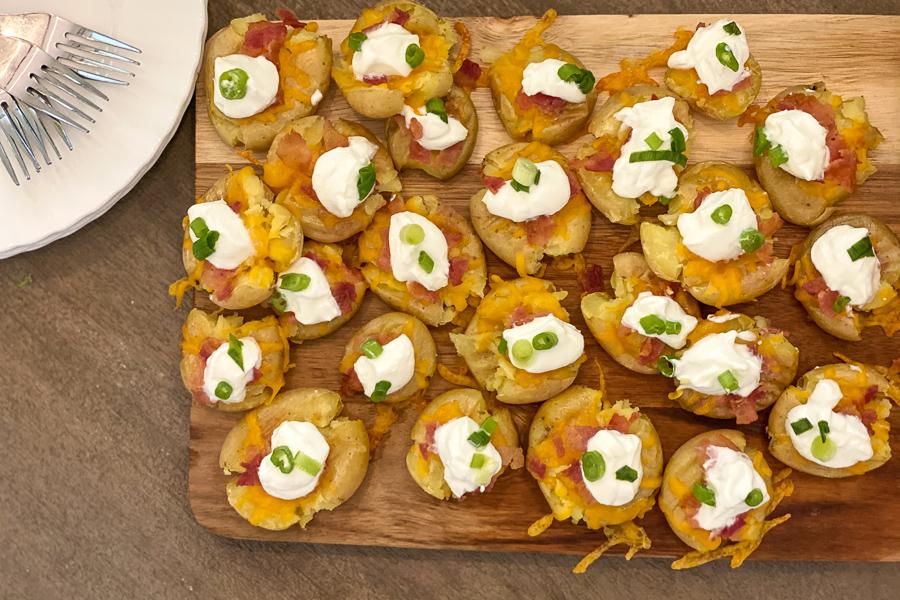 Loaded Potato Bites on a platter
