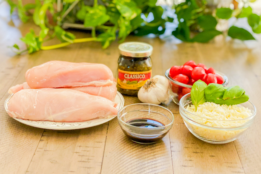 Ingredients for our Pesto Bruschetta Chicken Bake