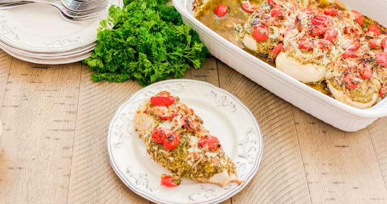Pesto Bruschetta Chicken Bake