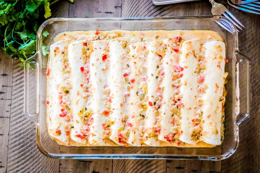 Sam's Club Chicken Enchiladas in a baking dish