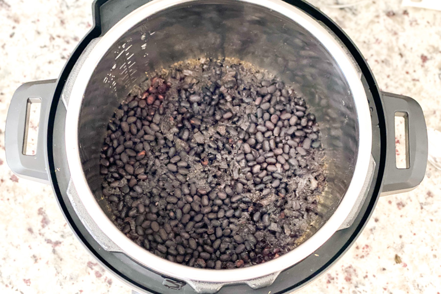 Cooked black beans in a Instant Pot