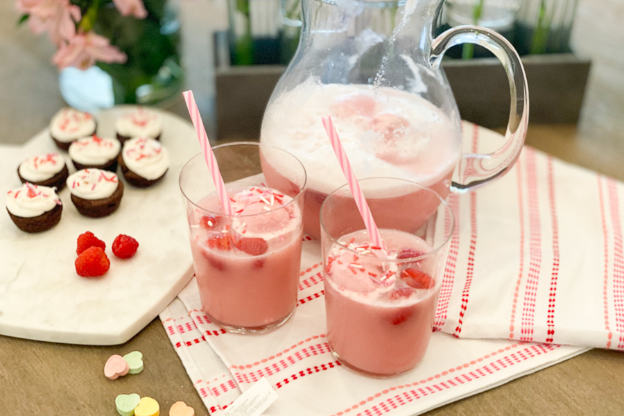 Petite Posse Punch in glasses with straws and sprinkles