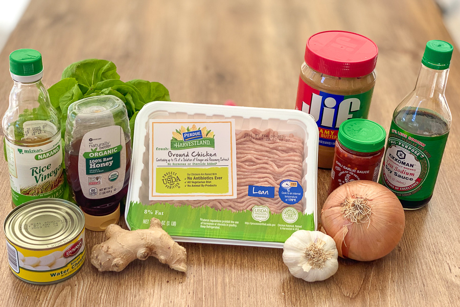 Ingredients for Simple Chicken Lettuce Wraps