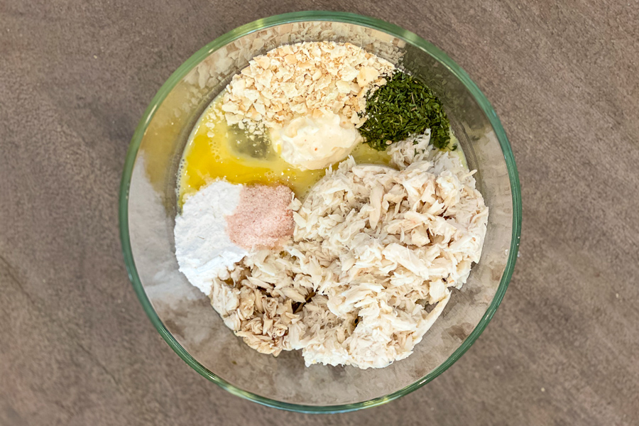 Ingredients for easy crab cakes in a bowl