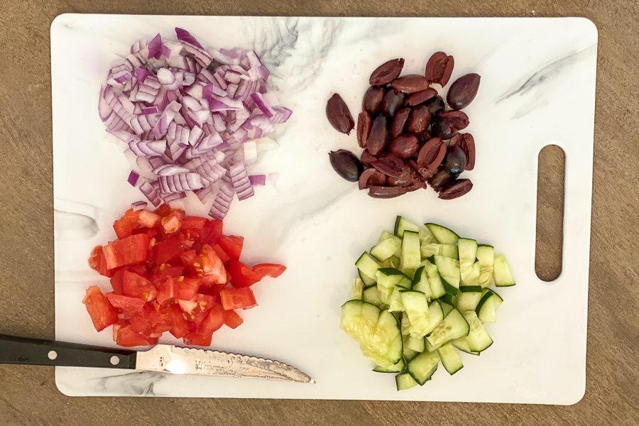 Chopped vegetables for the Ultimate Greek Chicken Platter