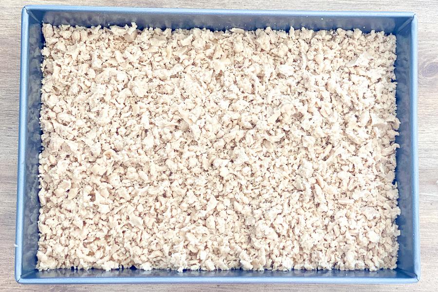 Classic Crumb Cake in a baking pan