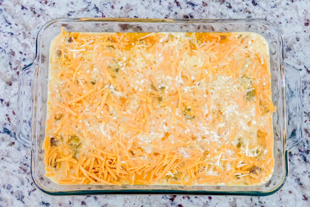 Spicy Brunch Casserole about to go into the oven.