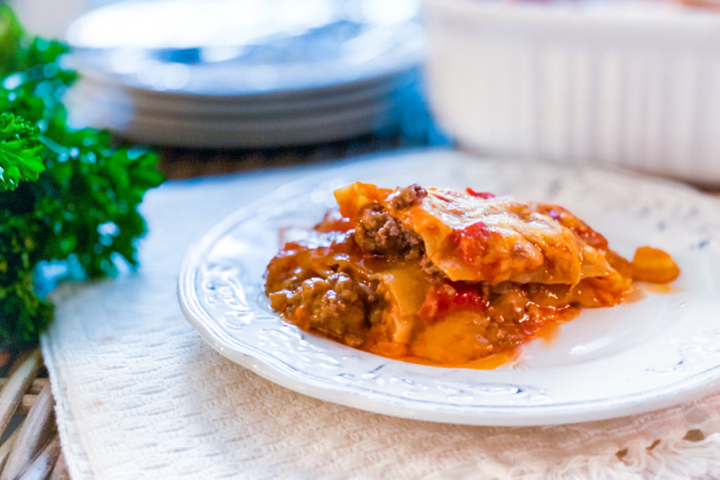 A slice of our 5 Ingredient Lasagna on a plate