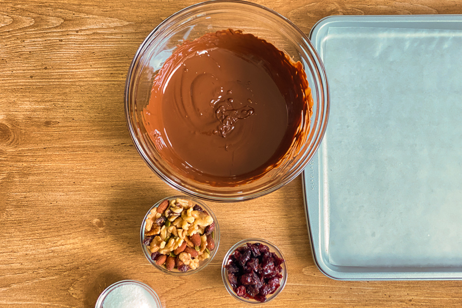 Melted chocolate in a bowl with a baking sheet