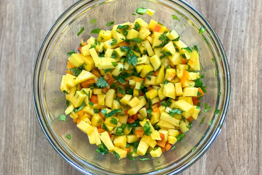Easy Mango Salsa in a bowl