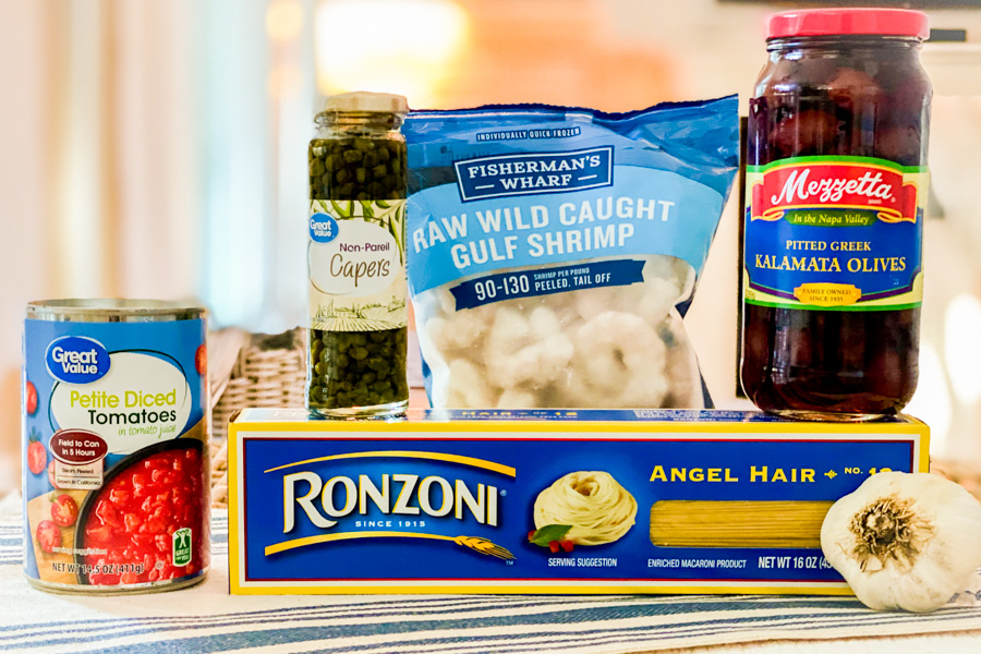 Ingredients for our One Pan Shrimp Pasta