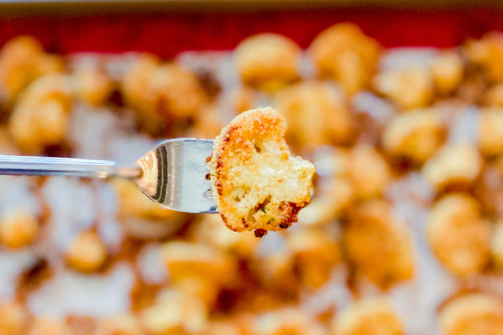 Our Italian Roasted Cauliflower cooked and on a fork