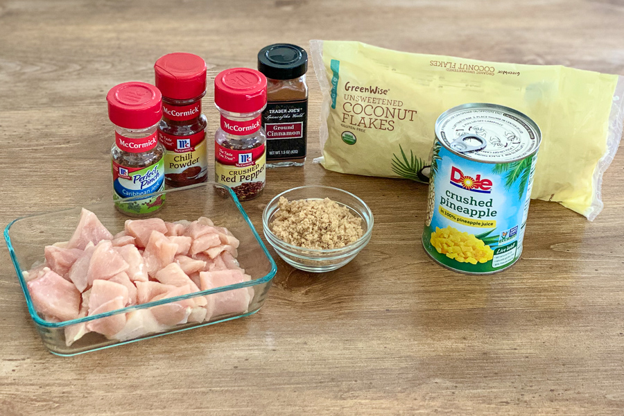Ingredients for Pineapple Jerk Chicken Bake