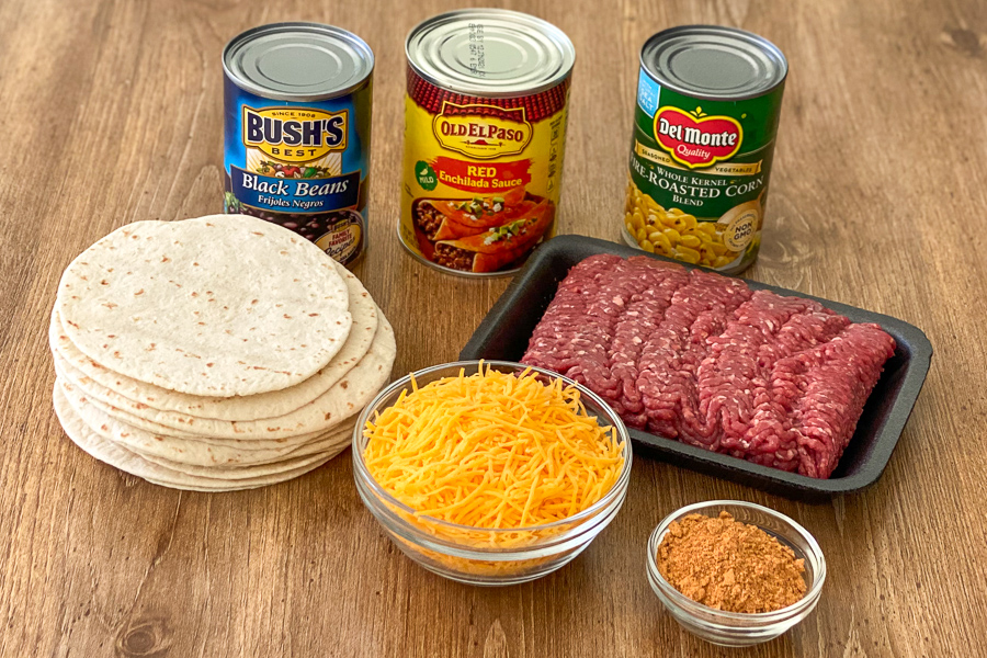 Ingredients for Mexican Tortilla Lasagna